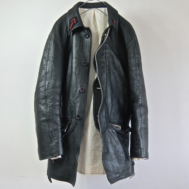 1950-1960  Vintage French Fire Fighter Leather Jacket