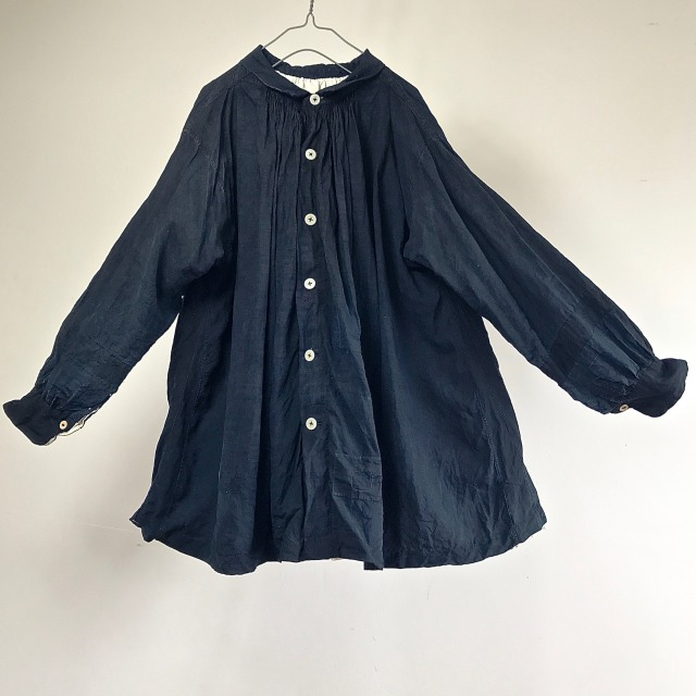 1900-1910 Antique  Pure Indigo French Linen Maquignon  Biaude Coat