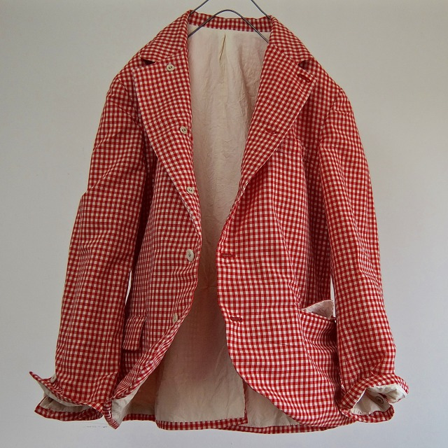 1950-1960 Vintage French  Gingham Cotton Traditional Jacket