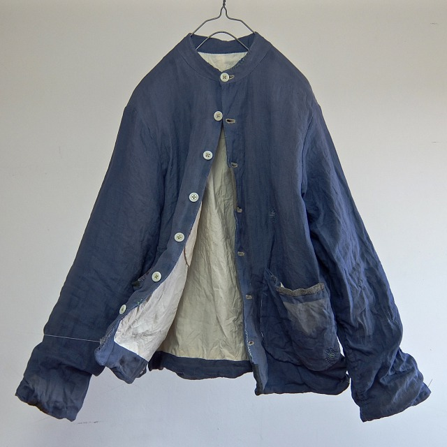 Vintage  Indigo Dyed French Linen  Worker Jacket