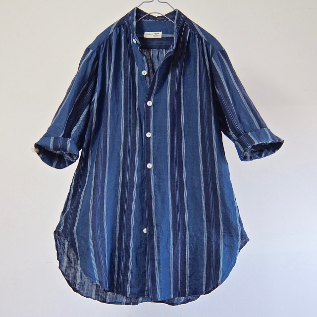 Indigo Stripe French Linen Stand-collar Shirt