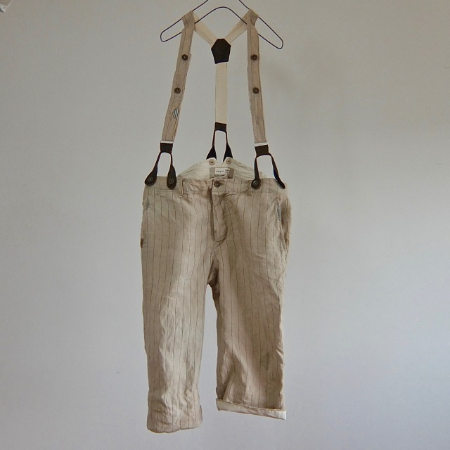 Vintage French Chore  Workers Paysanne Linen Pants with Suspender