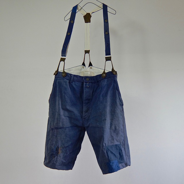 Vintage  French Serge Chore Work Short Pants with Suspender