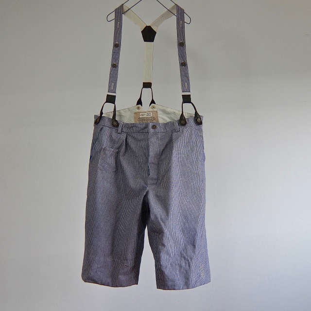 Vintage  French Chore Work Hound's Tooth Pants with Suspender