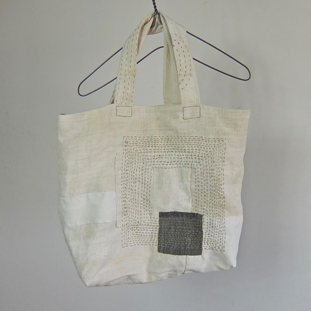 Old French Linen Darned Tote Bag