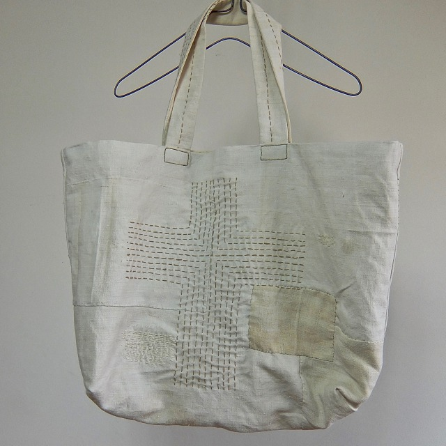 Old French Linen Darned Tote Bag Large