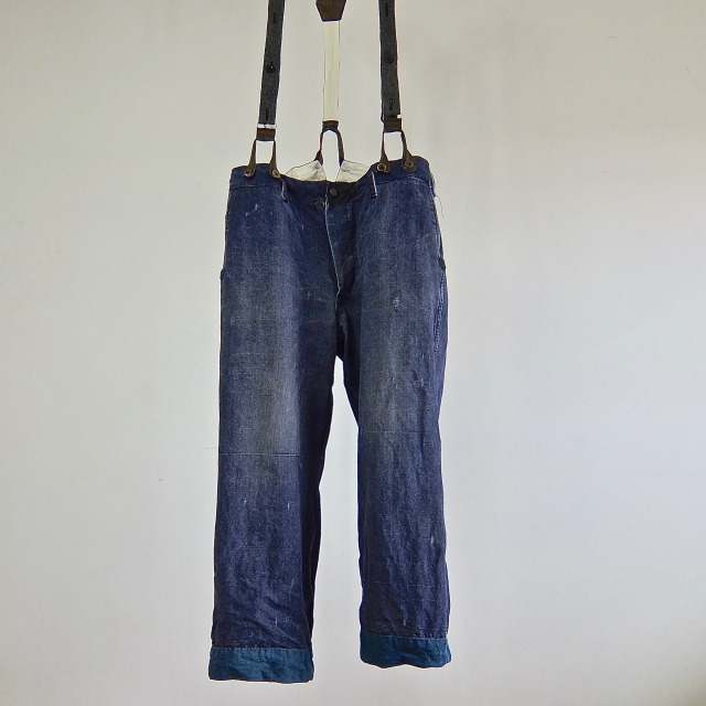 Antique French Pure Indigo Linen  Paysanne Pants with Suspenders