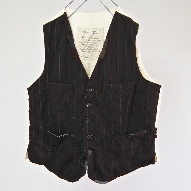 1940-1950 Vintage ALTERATION    French Anciennes Pinstripe Gilet