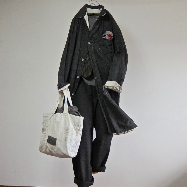 1940-1950 Vintage French Worker Duster Coat