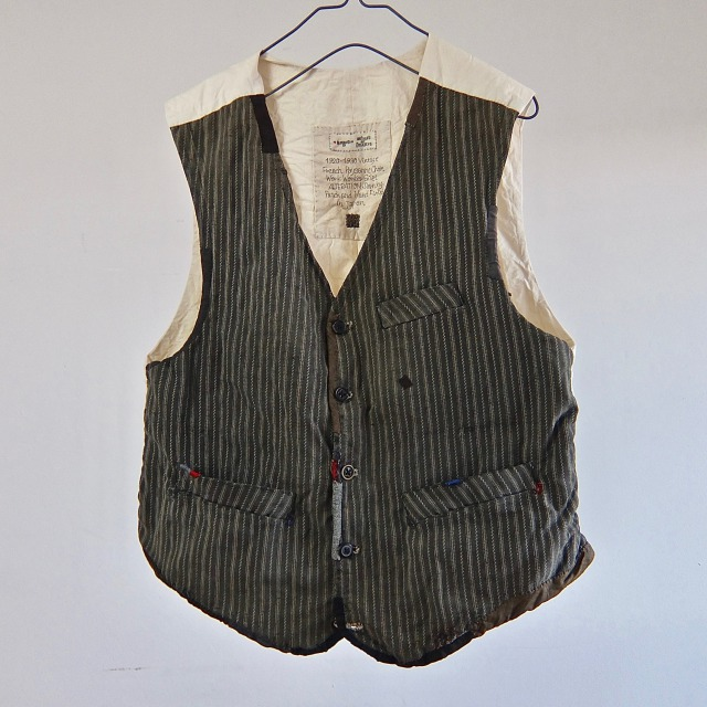 Vintage  French  Paysanne  Worker Dobby stripe  Gilet