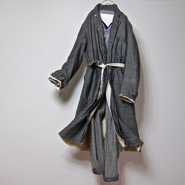 1940-1950  French Linen Reversible   Worker Atelier Coat