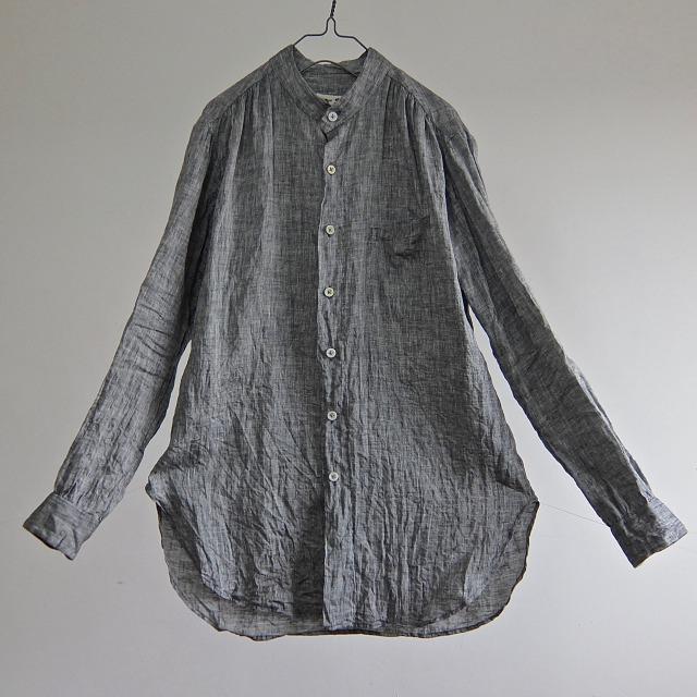 Belgian Linen Stand collar Stitch-out Shirt