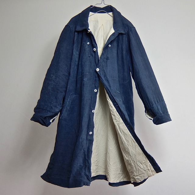 19th Century Antique Pure Indigo French  Linen  Smock Coat