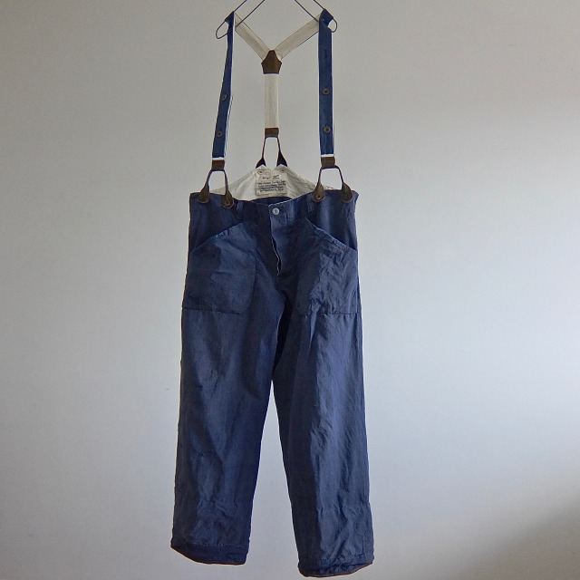 Vintage French  Linen Indigo Color Chore Work Pants with Suspenders