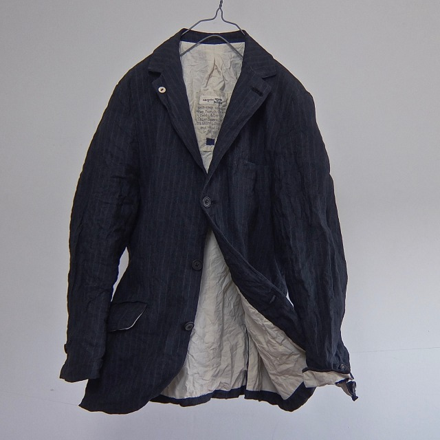 Vintage French Linen Dobby&Stripe Tailor  Jacket