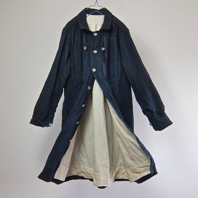 19th Century  Antique Natural Indigo Linen French Maquignon Coat