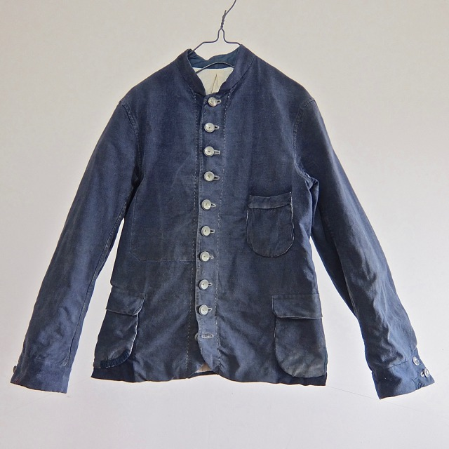 Vintage  Cotton Mix French Indigo  Linen  Worker Jacket