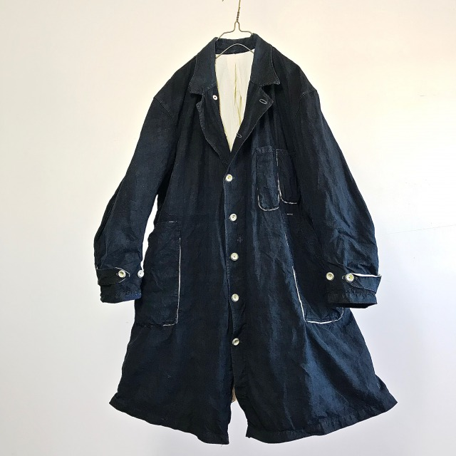 Vintage French Indigo Linen Maquignon's Old Work Coat