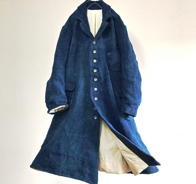 19th Century Antique Heavy French Indigo Linen  Work  Coat