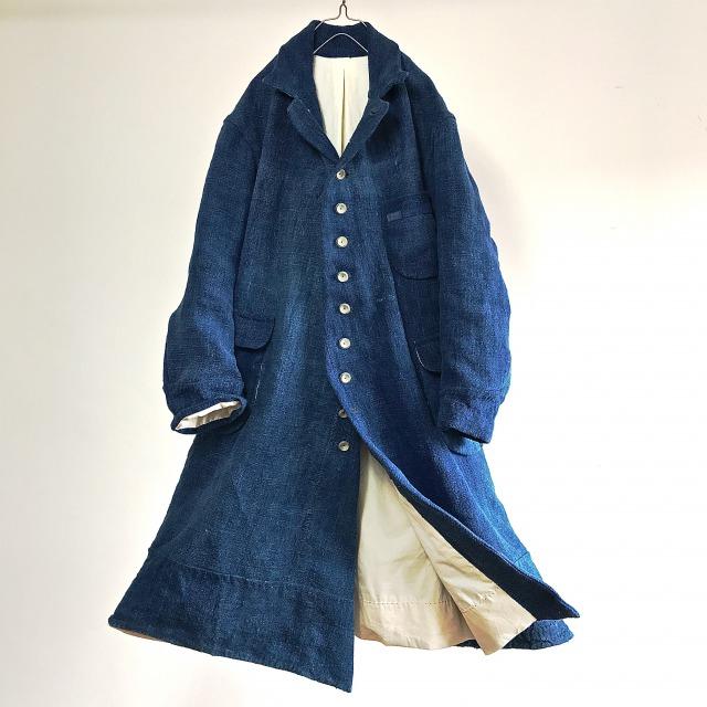 19th Century Antique Heavy French Indigo Linen  Work  Coat