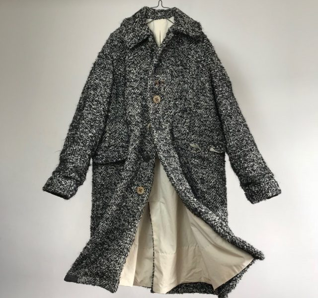 "Vintage French Wool Bouclette Coat Made of ""Galaries Lafayette"""