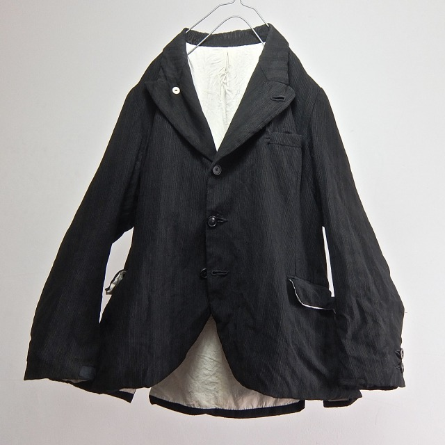 Antique  French Wool/Linen/Cotton Pique Stripe Peaked Lapel Jacket
