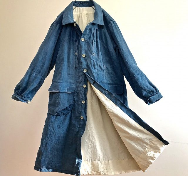 Early 1900's  Natural  Indigo  Linen   Smock Coat