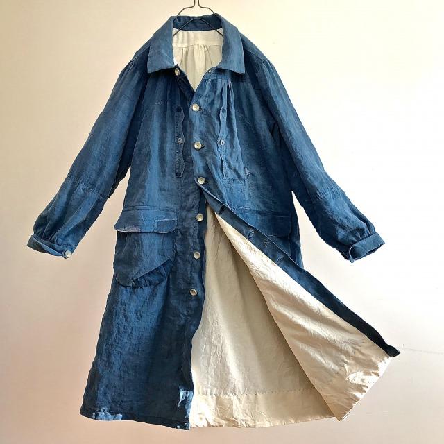 Early 1900's  Natural  Indigo  Linen   Smock Coat