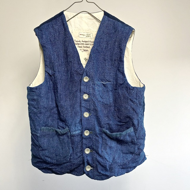French Antique and Vintage Indigo Linen made Gilet