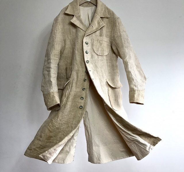 French Rustic Heavy  Linen Chore Worker Coat