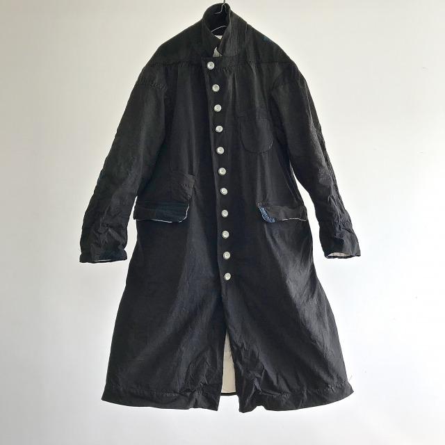 "Vintage French Linen/Cotton ""Metis"" Black Coating Maquignon  Coat"