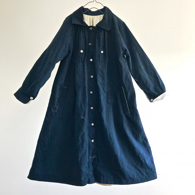 Antique Natural Indigo French Linen Maquignon Biaude Coat for Ladies