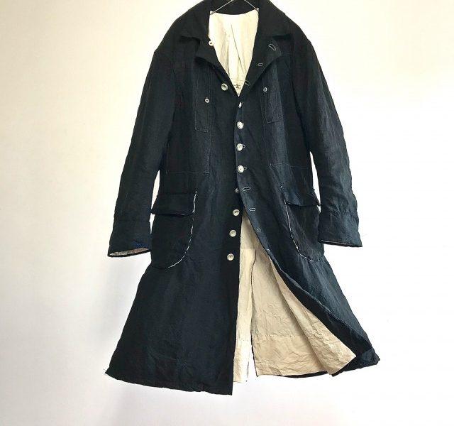 "Vintage French Indigo Linen ""VILLETTE"" Maquignon  Coat"