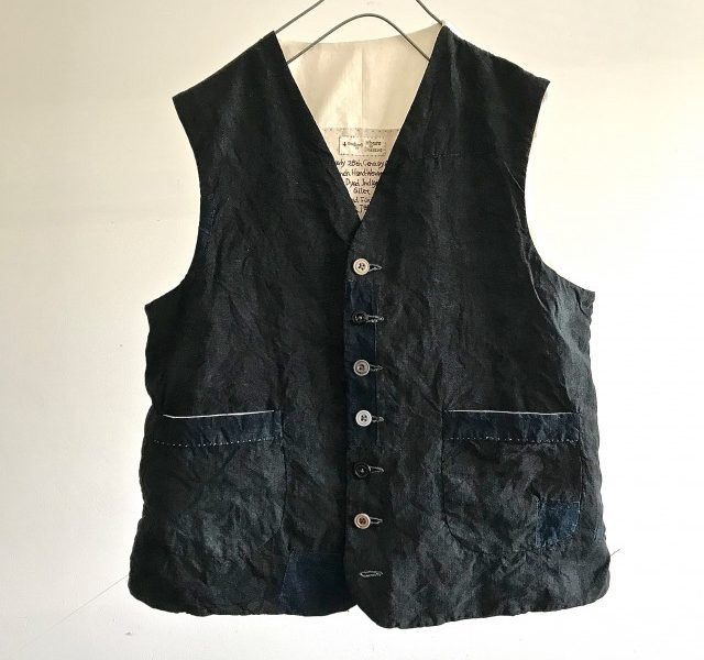 Antique  Black Over Dyed Indigo Linen Gilet