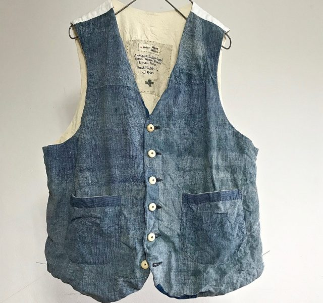 Antique Indigo Dyed Hand Woven French Linen Gilet