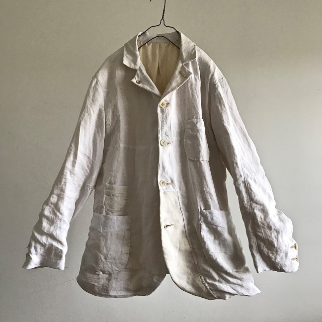 Antique Hand Woven French Bed Linen  Work Jacket
