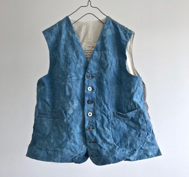 Vintage French Hand Woven Heavy Indigo Dyed  Linen/Hemp Gilet