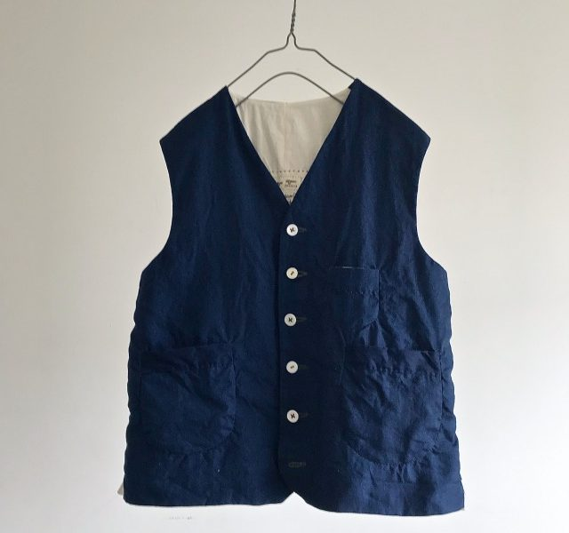 Indigo Dyed French Linen  Gilet