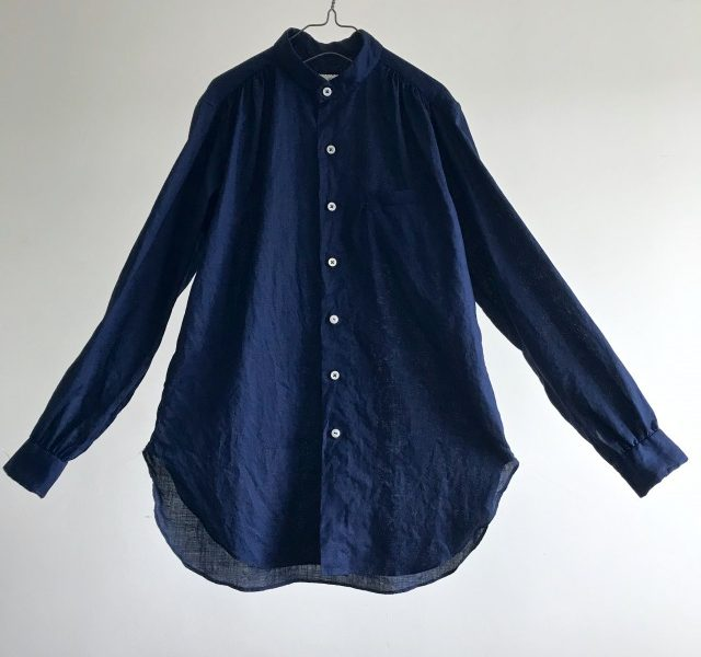 Indigo Dyed French Linen Stand collar Stitch-out Shirt