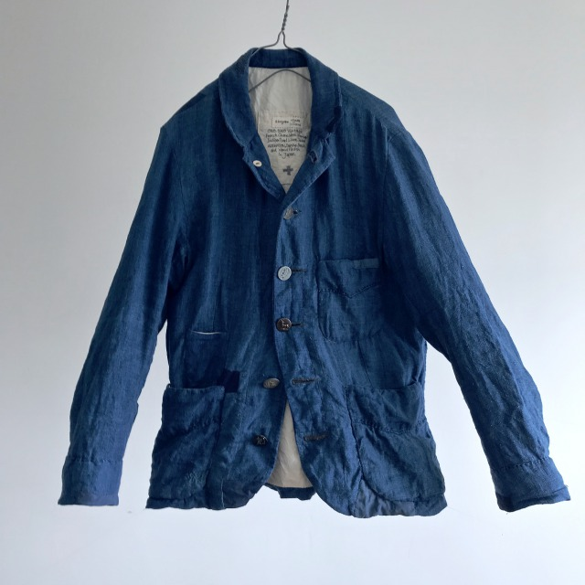 Vintage French  Worker Indigo Dyed Linen Jacket