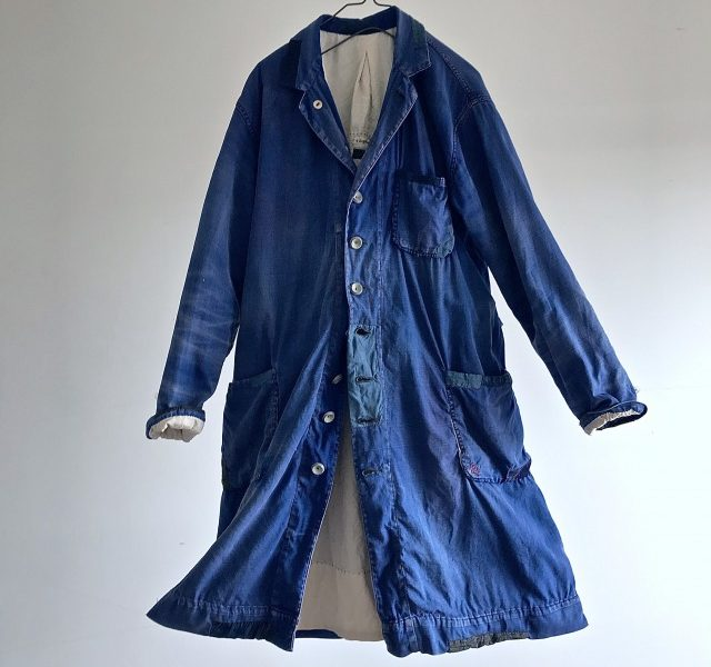 Vintage Indigo Dyed Cotton/Linen Twill French Duster Coat