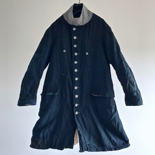 Antique French Black Dyed Indigo Linen Maquignon's Work Coat