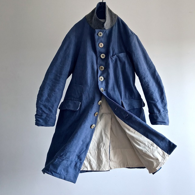 Antique Hand Woven  Woad  Dyed Indigo Linen Maquignon Coat