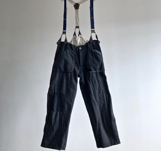 Vintage French Pompier Wool Trousers with Suspender