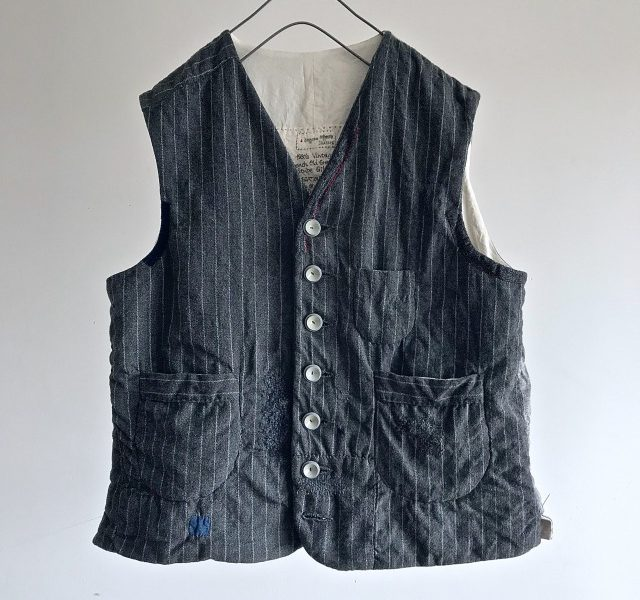 Vintage  French Old Gray Wool Stripe Gilet