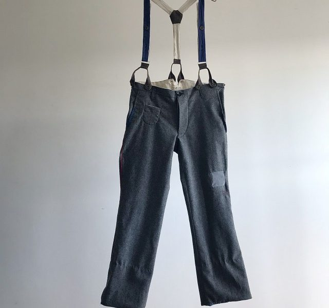Vintage French Pompier Felting Flannel Trousers with Suspender
