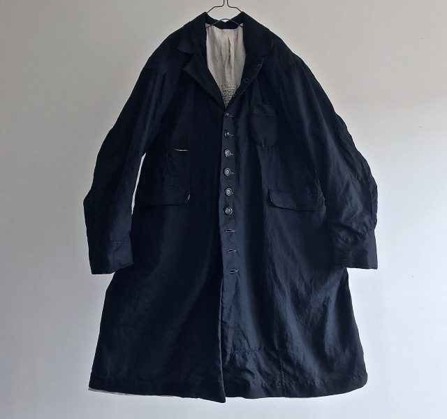 Vintage  Black Indigo Linen Fabric Made Mquignon Coat