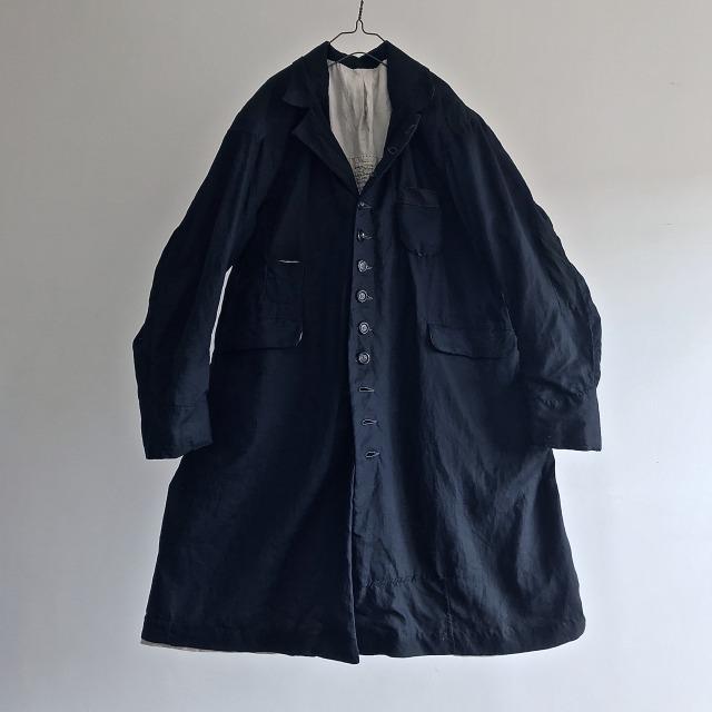 Vintage  Black Indigo Linen Fabric Made Mquignon Coat
