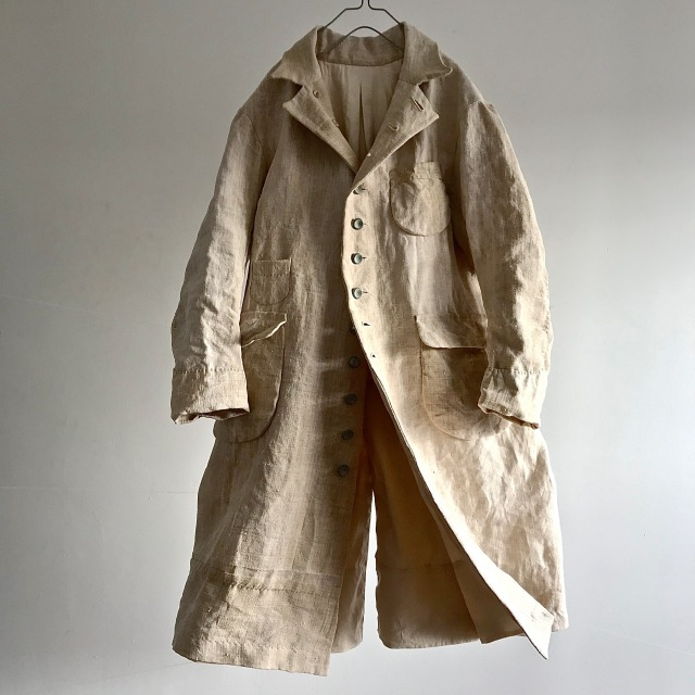 Antique French Rustic Heavy  Linen Chore Worker Coat