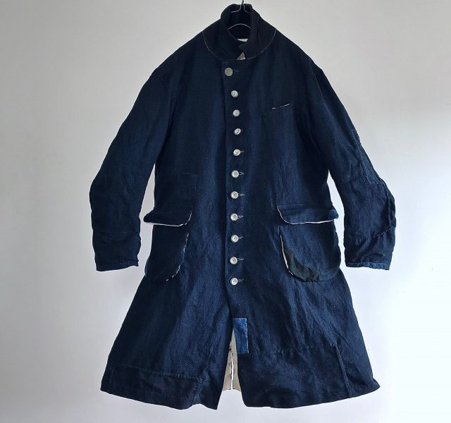 IndiaInk Dyed Rustic Indigo Linen Fabric Made Mquignon Coat
